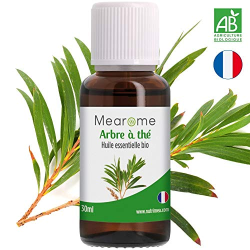 Huile essentielle d'ARBRE A THE (Tea Tree) BIO - Voies respiratoires, Diffuseur, Aromathérapie - 30 ml - 100% Pure et Naturelle, HEBBD, HECT - Distillée en France - Mearome