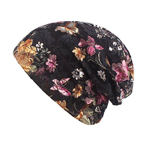 ERCZYO Mujeres Verano Transpirables Flores Finas algodn tnico Encaje Beanie Hat Vintage Buen elstico Turban Caps (Color...