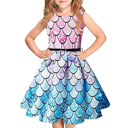 Idgreatim Mädchen Halloween Sommerkleid Kürbis 1950 Rockabilly Swing Sommerkleid, Style 1, Gr.- 5-6 Jahre/ Small