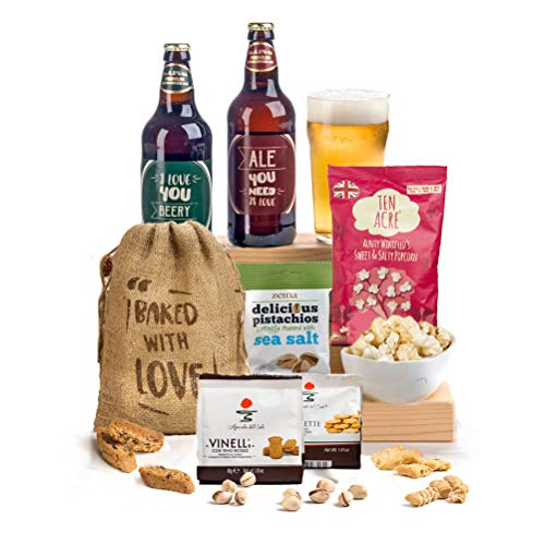 Say I Love You Beery Much - Beer, Nibbles & Biscuits Hamper Box Fun Pun Labels for Him