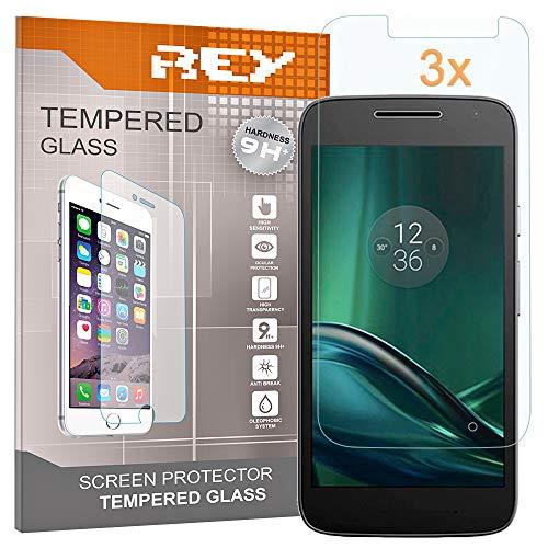 REY 3X Protector de Pantalla para Motorola Moto G4 Play, Cristal Vidrio Templado Premium