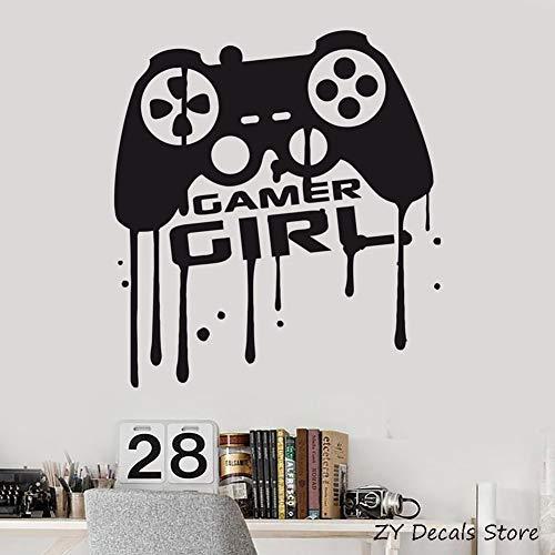 Mädchen Gamer Vinyl Wandtattoos Videospiel Teen Spielzimmer Dekor Joystick Aufkleber für Mädchen Home Interior Verzieren Kunstwandbild 42 * 46 CM