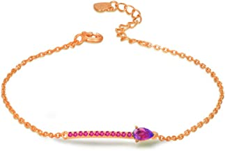 Women's Bracelet 925 sterling silver color jewelry Natural amethyst bracelet 18k rose gold 17.3cm