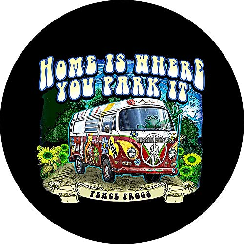 Fall Ing Tire Cover Central Peace Frog Hippie Van Bus Home Is Waar U Parkeer Itspare Tire Cover Voor Camper Rv Scamp Trailer