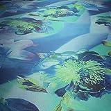 Stoff am Stück Stoff Polyester Kleidertaft blau Orchidee
