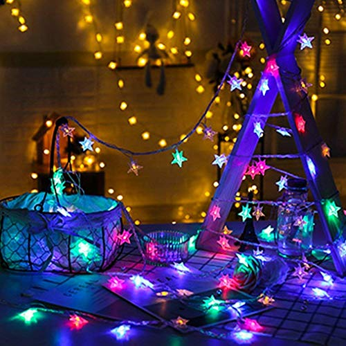 Star Fairy Lights, Biaoyu String Lights Multicoloured 50 LED 5M Decorative Battery-Operated Lighting for Christmas Wedding Birthday Holiday Party Indoor& Outdoor (5M)