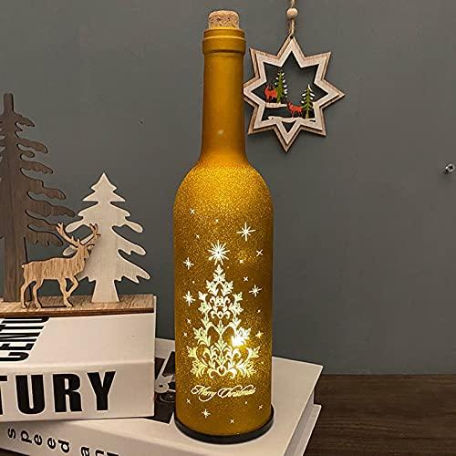 ZFFLYH Botella de vino de Navidad con luz LED, luz LED para botella de vino, funciona con pilas, Navidad, manualidades, diseño creativo Año Nuevo, 3