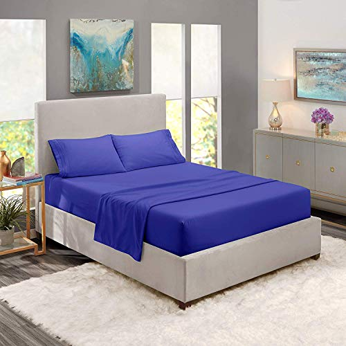 JS Sanders Collection Stunning Decor 1500 Thread Count King 4pc Bed Sheet Set Egyptian Deep Pocket Royal Blue.