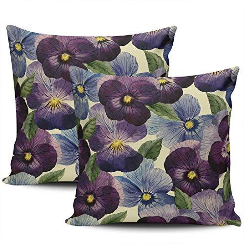 GodYo verpakking met 1 sofakussenslopen paars en blauwe bloem verborgen kussenslopen met ritssluiting SquareCushion Cases