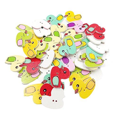 Botones de Bodhi2000, 100 unidades, con forma de pato multicolor, 2 agujeros, para coser, scrapbooking, artesanía, manualidades, decoración