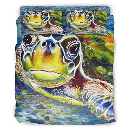 Hothotvery 4 Piece Bedding Sets Printed Watercolour Sea Turtle Painting 4-Piece Bed Linen Flower Bed Linen Christmas Quilt Cover and Pillow Rolls White 240 x 264 cm