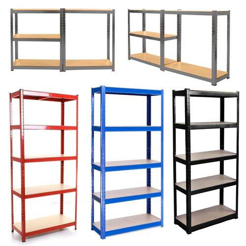 Blue Metal Storage Racking Shelves Shelving Unit For Sheds Garage Workshop Industrial Warehouse Kitchen, Heavy Duty Boltless Shelf, 5 Tier, 150x70x30 CM, 875KG Capacity