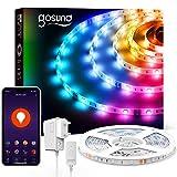 Gosund 5m Tira de Luces LED Iluminación RGB 5050, Control Remoto por Móvil, Compatible con Alexa Google Home, Múlticolor y Brillo Ajustable, Led Strip Light de 16.4ft para Habitación Cocina y Fiesta