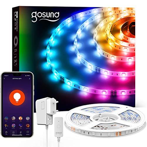 Tira LED Alexa, 5M Luces LED RGB WiFi USB Tiras led Inteligente Control por APP/Voz, Funciona con Alexa/Google Home, Sincronizar con Música,Luces LED Habitación