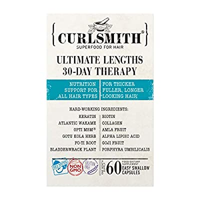 Curlsmith - Ultimate Lengths 30-Day Therapy - Hair Supplements with Biotin, Keratin, Collagen & Opti MSM to Encourage Growth (60 Tablets)