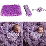 puseky Accesorios de Fotografía para Bebés Recién Nacidos Manta Mullida + Envoltura + Diadema Accesorios para Fotos