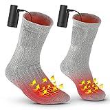 電熱ソックス URBENFIT ヒーター靴下 充電式バッテリー加熱(バッテリー付き) ヒーターソックス 加熱靴下 3段階調温 男女兼用 釣り サイクリング スキー アウトドア 防寒用靴下 プレゼントに最適 日本語説明書 … (灰)