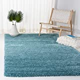 SAFAVIEH Milan Shag Collection SG180 Solid Non-Shedding Living Room Bedroom Dining Room Entryway Plush 2-inch Thick Area Rug, 5'1' x 8', Aqua Blue