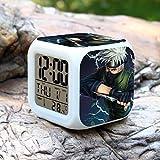 DMWSD Alarma electrónica digital del reloj Luz de noche en color Noche de juegos de anime personajes de Naruto Hatake Kakashi mil aves de trinquete Push Switch exhibición de múltiples funciones exquis