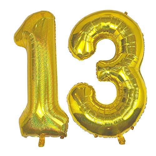 DIWULI, Globos gigantescos con número 13, color dorado brillante, globos con número 13, globos de papel de aluminio, globos con número 13, para decoración de fiestas o decoración de regalo