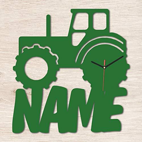 Namofactur Spezial Wand Motiv Holz Uhr Trekker Traktor individuell mit Namen personalisiert Kinderzimmer Geschenk zum Geburtstag für Junge Landwirte Bauer