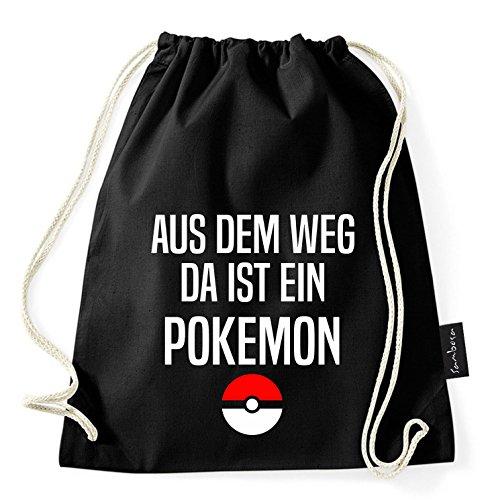 Über 60 Sprüche & Designs auswählbar/Sambosa Turnbeutel mit Spruch/Beutel: Schwarz/Rucksack/Jutebeutel/Sportbeutel/Hipster, Bag:Pokemon