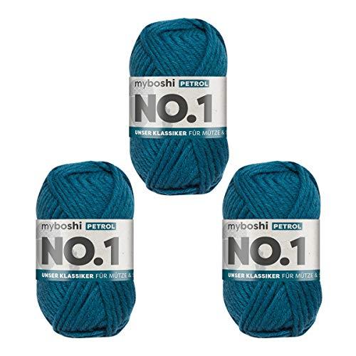 myboshi No.1-Wolle zum Häkeln und Stricken, mit Merinowolle, hochwertiges Schnellstrickgarn, Pflegeleichte, langlebige Mützenwolle, Mulesing-frei, 3 knl x 50gr, Ll 55m Petrol