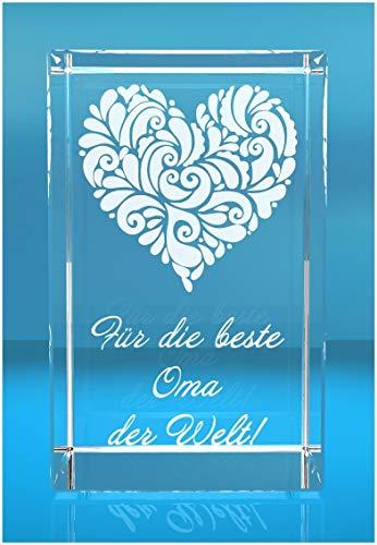 VIP-LASER 3D XL Glas Kristall mit verziertem Herz und Spruch Für die beste Oma der Welt! Gravur