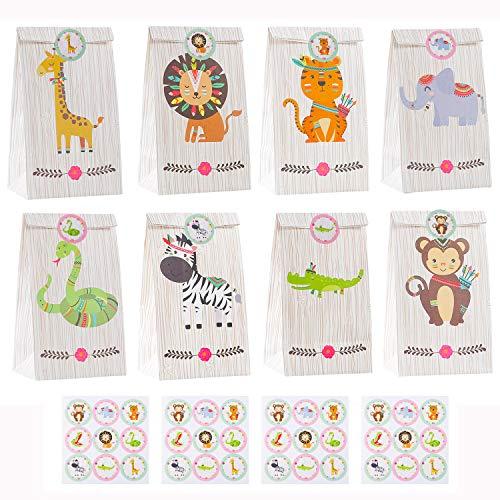 Herefun 24 Geschenktüten Kinder Partytüten Papier Candy Tüten, Geschenktüten Weihnachten für Kinder, Kindergeburtstag Papiertüten Waldtiere Set Geeignet für Mitgebsel Hochzeit Ostertüten