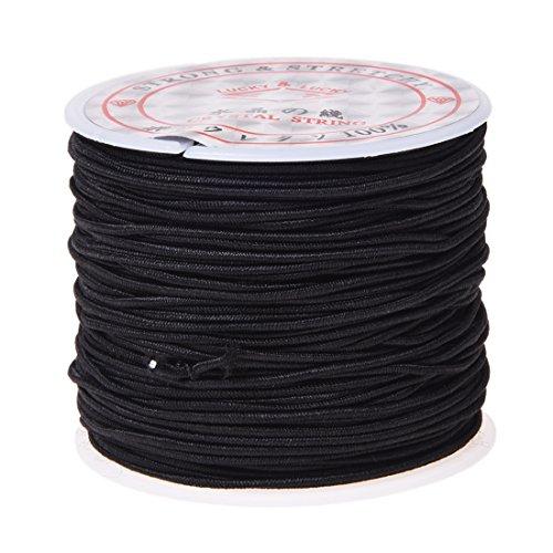 SODIAL(R) 1 Rollo 24m Largo Negro redondo elastico rebordear hilo de cordon 1mm