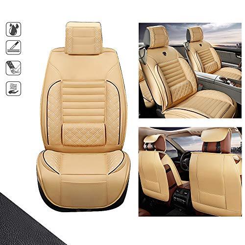 huitelai Fundas de asiento de coche para S cion IM 5 asientos de cuero sintético impermeable fácil instalación – Front Fila Standard Edition Beige