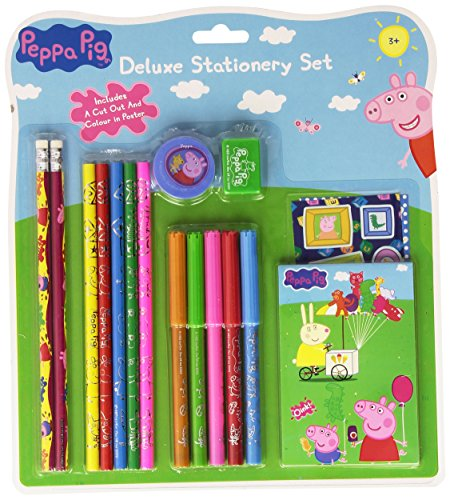 Peppa Pig Deluxe 17 Piece Stationery Set with Stickers