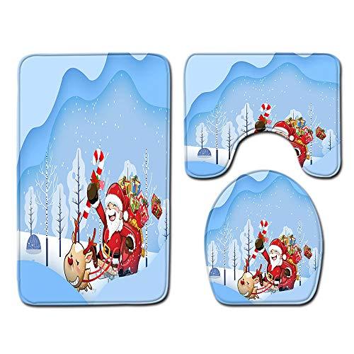 FGHJSF Alfombras de Baño Regalo Rojo de Santa 3 Alfombrillas de Secado rápido, Alfombra de baño de Secado rápido, Alfombra de Pedestal + Tapa de Inodoro + Alfombrilla de baño