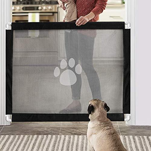 JAUTO Treppenschutzgitter | Türschutzgitter | Für Türen & Treppen 100cm | Höhe 80 cm | Türrollo Treppenrollo Türschutzrollo | für Babys, Hunde & Katzen