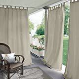 """Blackout Outdoor Curtain Tab Top Beige 200"""" W x 84"""" L for Front"""