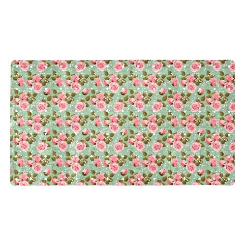 ZDL Alfombra de baño verde claro con diseño de rosas rosas rosas rosas para bañera (70,9 x 39,9 cm) para bañeras lisas/no texturizadas solo