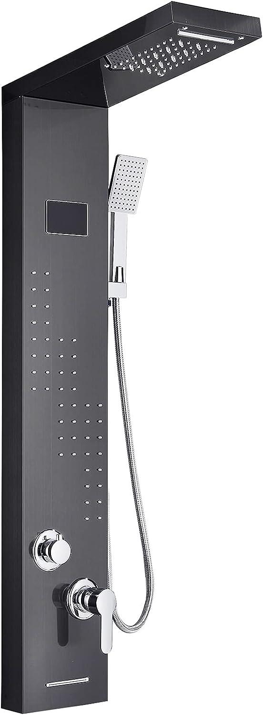 Columna de ducha LED negra con 5 modos de sistema de panel de ducha de pared hidromasaje de acero inoxidable