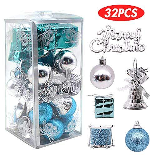 LoveInUSA 32 pcs Christmas Ball Ornaments, Christmas Tree Ornaments Christmas Decorations Tree Balls for Christmas Xmas Tree (Blue & Silver)