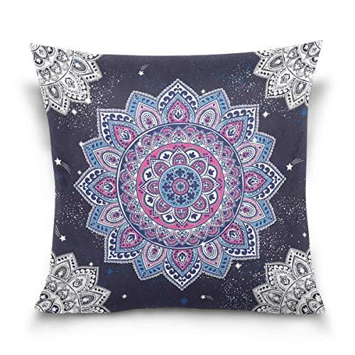 Funda de cojín cuadrada para sofá, cama, diseño de mandala de flores indias y flores, 30 x 30 cm