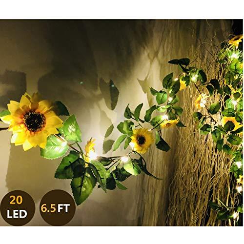 Fielegen 20 LED Artificial Sunflower Garland String Lights, 6.56ft Silk Sunflower Vines with 9 Flower Heads Battery Powered Fairy String Lights for Indoor Bedroom Home Garden Party Wedding Decor