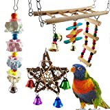 Aisamco 6 piezas Pájaro Juguete del oscilación Loro Escalera flexible Hamaca para pájaros con loro colgante Loro Masticando piedra de afilar, Periquitos, Cockatiels, Conures