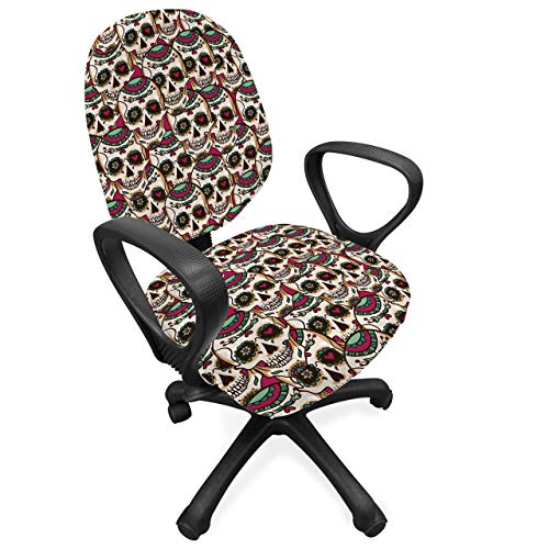 Ambesonne Sugar Skull Office Chair Slipcover, Creepy Head Bones with Paisley Floral Patterns Flowers Day of The Dead Art, Protective Stretch Decorative Fabric Cover, Cream Green Red