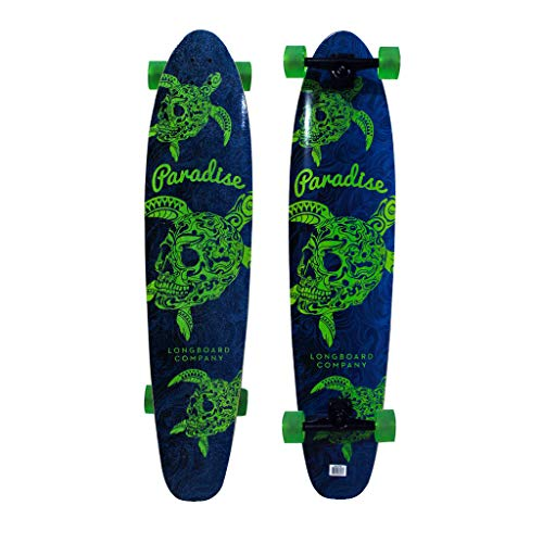 "Paradise Longboards Turtle Skull Kicktail 9.75"" x 44"" Blue/Green"