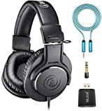 Audio-Technica ATH-M20x Professional Monitor Headphones Bundle with Blucoil 6-FT Headphone Extension Cable (3.5mm), and USB Audio Adapter