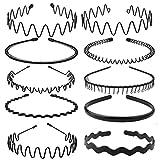 10 Pcs Élastique Ondulés Spring Wave Bandeau Cheveux, Multi-Style Noir...