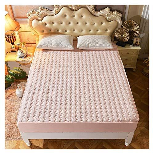 QIANGU Funda de colchón acolchada gruesa, transpirable, suave deshumidificación, cómoda, no resistente al agua para dormitorios (color: Jade, tamaño: 180 x 200 cm)