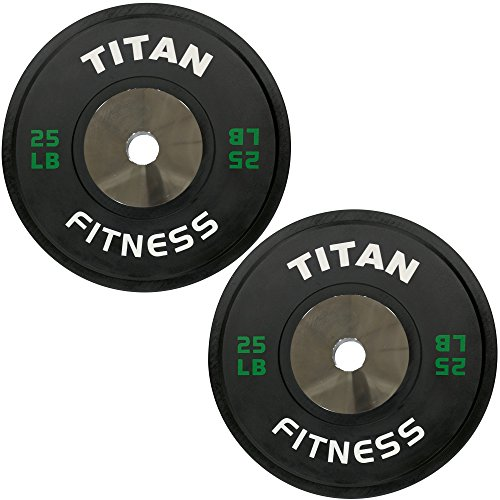 Titan Fitness Elite Olympic Bumper Plates | Black | 25 LB Pair