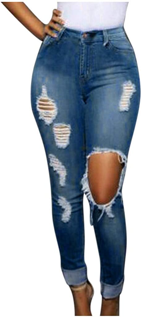 Ripped Jeans for Women, Ladies Button Pocket Hole High Waist Elastic Skinny Slim Casual Jeans Denim Pants