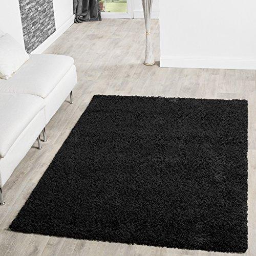 T&T Design Shaggy Teppich Hochflor Langflor Teppiche Wohnzimmer Preishammer versch. Farben, Farbe:schwarz, Größe:140x200 cm