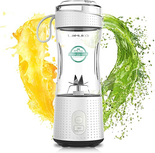 Lahuko Portable Blender Personal Mini Blender Ice Blender Juicer Cup for Juice Crushed-ice Smoothie Shake, Six Blades, USB Rechargeable, Waterproof Blender for Outdoors, Home, Office